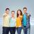groep · glimlachend · tieners · wijzend · vingers · vriendschap - stockfoto © dolgachov