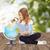 девочку · увеличительное · стекло · мира · стороны · ребенка · земле - Сток-фото © dolgachov