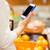 vrouw · smartphone · vruchten · gezond · eten · technologie - stockfoto © dolgachov