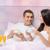 gelukkig · paar · liefde · romantische · ontbijt · bed - stockfoto © dolgachov