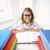 happy school girl in glasses with books stock photo © dolgachov