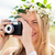 boldog · nő · film · kamera · koszorú · virágok - stock fotó © dolgachov