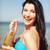meisje · fles · drinken · strand · zomer · vakantie - stockfoto © dolgachov