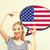 glimlachende · vrouw · tekst · bubble · Amerikaanse · vlag · onderwijs · buitenlands - stockfoto © dolgachov