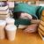 fáradt · diák · férfi · könyvek · könyvtár · emberek - stock fotó © dolgachov