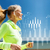 smiling woman doing running outdoors stock photo © dolgachov