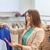 gelukkig · jonge · vrouw · kiezen · kleding · mall · winkelen - stockfoto © dolgachov