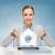 nő · táblagép · küldés · email · kép · gyönyörű · nő - stock fotó © dolgachov