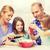 mutlu · aile · yeme · salata · ev · mutfak · sağlıklı · beslenme - stok fotoğraf © dolgachov