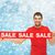 smiling man in red shirt with sale sign stock photo © dolgachov