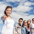 groep · studenten · permanente · buiten · tonen - stockfoto © dolgachov