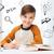 uśmiechnięty · student · chłopca · piśmie · notebooka · domu - zdjęcia stock © dolgachov