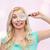 gelukkig · jonge · vrouw · vergrootglas · visie · exploratie · onderzoek - stockfoto © dolgachov