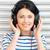 cute · adolescente · casque · écouter · musique · séance - photo stock © dolgachov