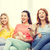 felice · ragazze · popcorn · guardare · tv · home - foto d'archivio © dolgachov