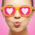meisje · roze · zonnebril · kus · liefde - stockfoto © dolgachov