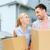 boldog · pár · hordoz · karton · költözködő · dobozok · új · otthon - stock fotó © dolgachov