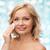 gelukkig · vrouw · schoonmaken · gezicht · katoen · schoonheid - stockfoto © dolgachov