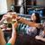 feliz · amigos · potável · cerveja · bar · pub - foto stock © dolgachov