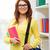 glimlachend · vrouwelijke · student · zak · notebooks · onderwijs - stockfoto © dolgachov