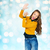happy young woman or teen girl applauding stock photo © dolgachov
