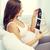 feliz · mujer · embarazada · ultrasonido · imagen · casa · embarazo - foto stock © dolgachov