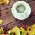 sonbahar · yaprakları · kahve · fincanı · ahşap · bo · doğa · arka · plan - stok fotoğraf © dolgachov