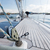 close up of sailboat deck or yacht sailing on sea stock photo © dolgachov