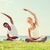 sorridente · casal · ioga · ao · ar · livre · fitness - foto stock © dolgachov
