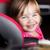 cute · meisje · auto · veiligheid · zitting · glimlachend - stockfoto © dolgachov