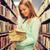 diák · könyvtár · derűs · nő · olvas · könyv - stock fotó © dolgachov