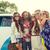 sorridente · jovem · hippie · amigos · carro - foto stock © dolgachov