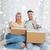 heureux · couple · cases · maison - photo stock © dolgachov