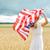 mutlu · genç · kadın · amerikan · bayrağı · açık · havada · ülke · gün - stok fotoğraf © dolgachov