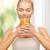 jonge · vrouw · drinken · sinaasappelsap · vrouw · gelukkig · home - stockfoto © dolgachov