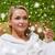 nő · fürdőköpeny · megnyugtató · üveg · pezsgő · hotelszoba - stock fotó © dolgachov