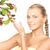 女性 · リンゴ · 小枝 · 画像 · 顔 · 健康 - ストックフォト © dolgachov