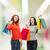 twee · tienermeisjes · foto · Rood · jurken - stockfoto © dolgachov