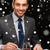 mosolyog · férfi · eszik · főétel · étterem · emberek - stock fotó © dolgachov