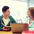 幸せ · 学生 · 図書 · ノートパソコン · 教室 · 大学 - ストックフォト © dolgachov