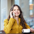 happy woman calling on smartphone at city cafe stock photo © dolgachov