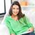 gelukkig · glimlachende · vrouw · magazine · foto · vrouw · home - stockfoto © dolgachov