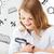 gelukkig · schoolmeisje · naar · vergrootglas · klas · kind - stockfoto © dolgachov