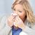 gripe · frio · mulher · doente · assoar · o · nariz · mulher · jovem - foto stock © dolgachov