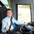 heureux · pilote · conduite · bus · neige - photo stock © dolgachov