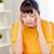 infeliz · mujer · sufrimiento · mano · pulgada · casa - foto stock © dolgachov