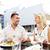gelukkig · paar · eten · diner · restaurant · terras - stockfoto © dolgachov