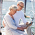 pareja · de · ancianos · vela · barco · yate · vela - foto stock © dolgachov