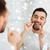 homem · fio · dental · limpeza · dentes · banheiro - foto stock © dolgachov
