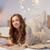 mosolyog · fiatal · lány · ír · notebook · ceruza · nappali - stock fotó © dolgachov